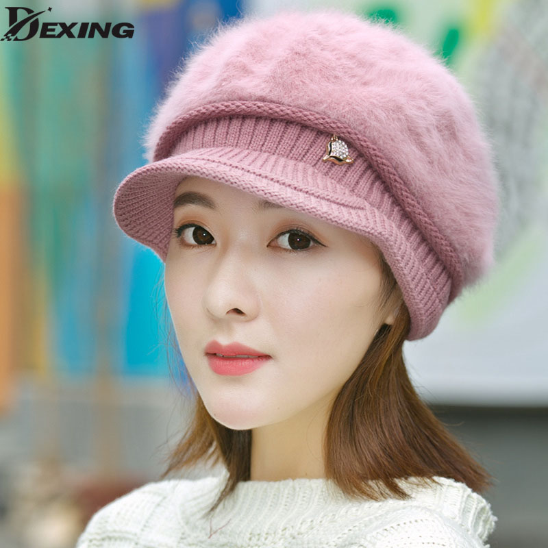 2017 fashion winter hat women  Thick velvet warm Knitted Rabbit Fur Hat Female Headgear Skullies Beanies Bonnet Ski Sports Cap skullies female rabbit ear hat hat women s hair cap fashion cap winter cap fpc012