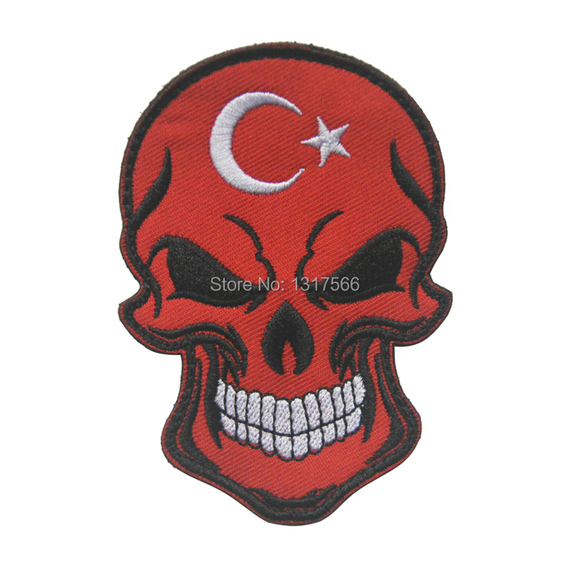 Turkish National Flag Skull Head Embroidery Patch Embroidered