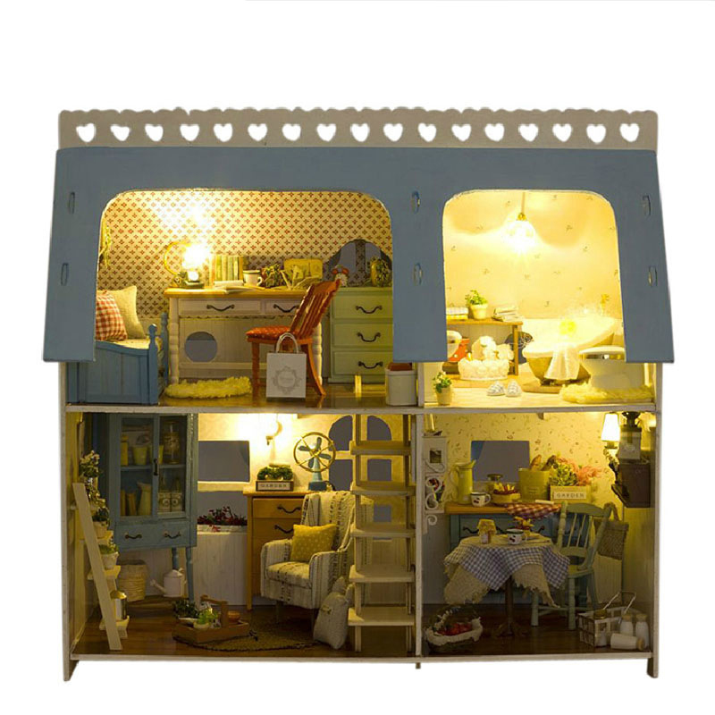 Us 49 99 Miniature Sweet House Craft Model Wood Dollhouse Furniture Led Lights Kit Home Decor Diy Doll Xmas Birthday Gift In