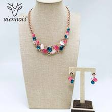 цена на Viennois Rose Gold Color Earrings Necklace Set For Women Necklaces Multicolor Rhinestone Crystal Wedding Party Jewelry
