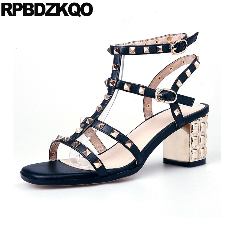 2018 Pumps Block Genuine Leather Sexy Slingback T Strap Rock Stud Shoes Sandals Women Thick Summer Open Toe Strappy Ankle Black pumps shoes slingback open toe double strap sandals black summer women strappy designer stiletto high heels sexy big size 11