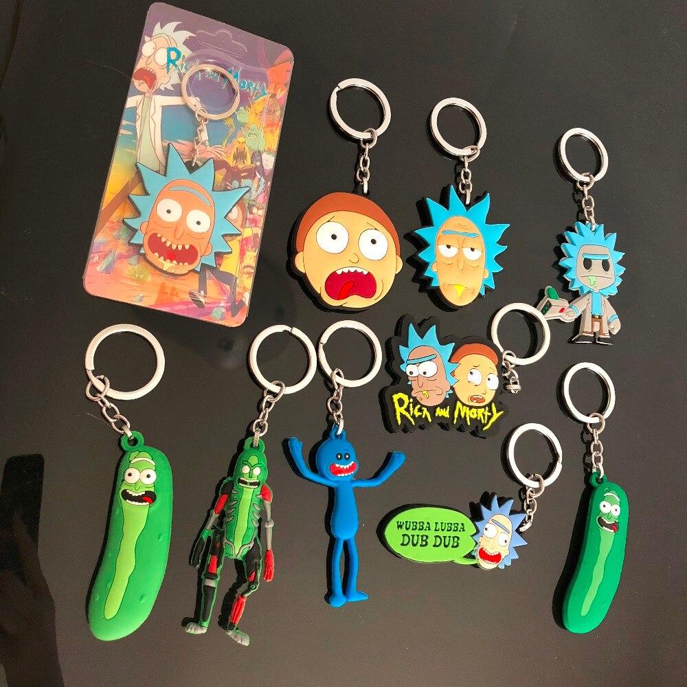 Rick y Morty figura de pepinillo Juguetes llavero feliz caja de espuma Sr. Meesee verano Jerry Smith PVC muñecas colgantes de bolso Juguetes