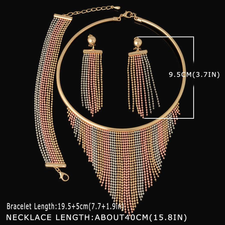 Dubai Gold Jewelry Sets Nigerian Wedding African Beads Crystal Bridal Jewellery Set Rhinestone Ethiopian Jewelry parure