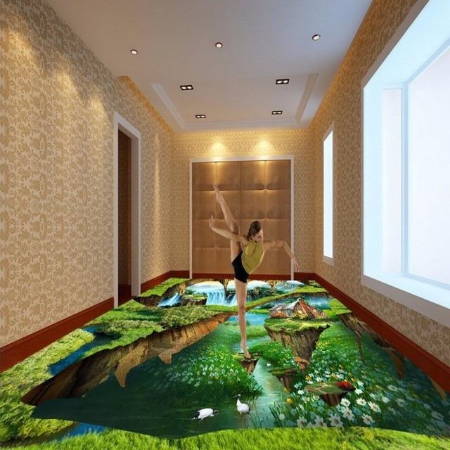 Gratis Verzending 3D Stereo groen bos grond muurschildering ...