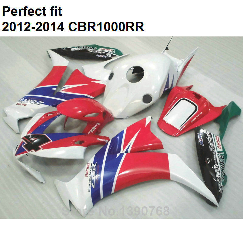 100% fit injection fairings for Honda red white blue CBR 1000RR 12 13 14 fairings set CBR1000RR 2012 2013 2014 CN26