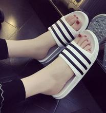 цены Summer casual slippers summer lady thick bottom three bar flat with non-slip couple word trailer home bathroom slippers 2018
