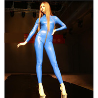 XXL Glitter Latex Catsuit Three Zipper Puller Front Open Crotch Bodycon Jumpsuit Women Long Sleeve Bodysuit Sexy Suit Body Mujer