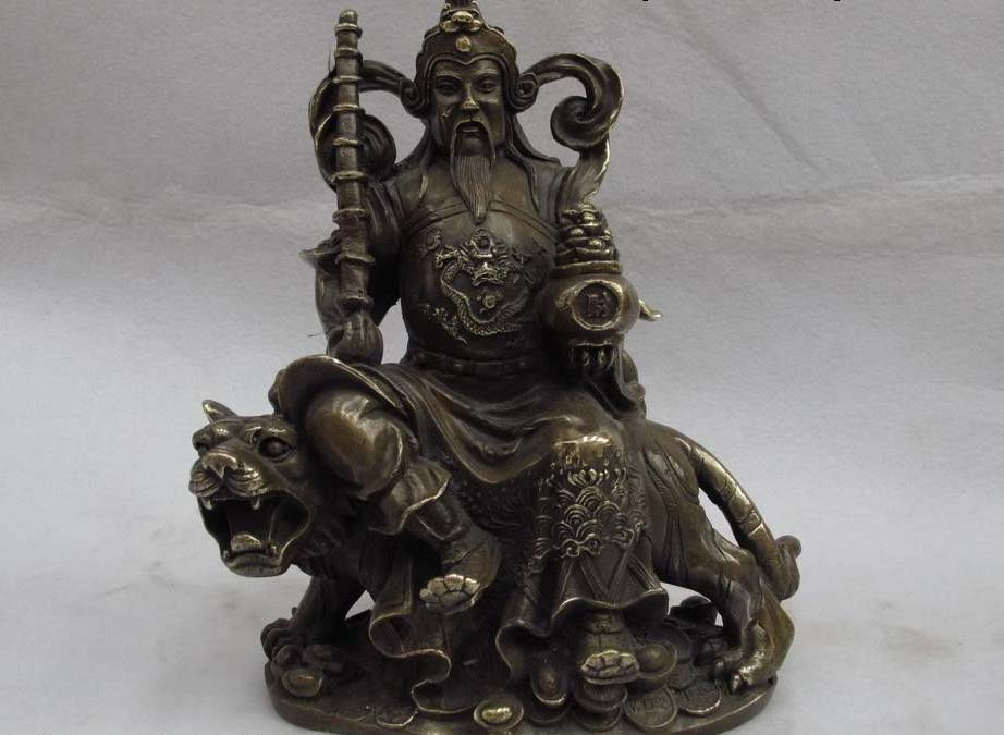 China Brass copper Dragon Mammon Warrior Wealth God Ride Tiger Fengshui Statue|statues gods|statue chinastatue dragon - title=