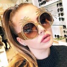 Linther 2019 nova moda engraçado peculiar design óculos de sol alta qualidade diamantes abacaxi óculos de sol para mulher frete grátis