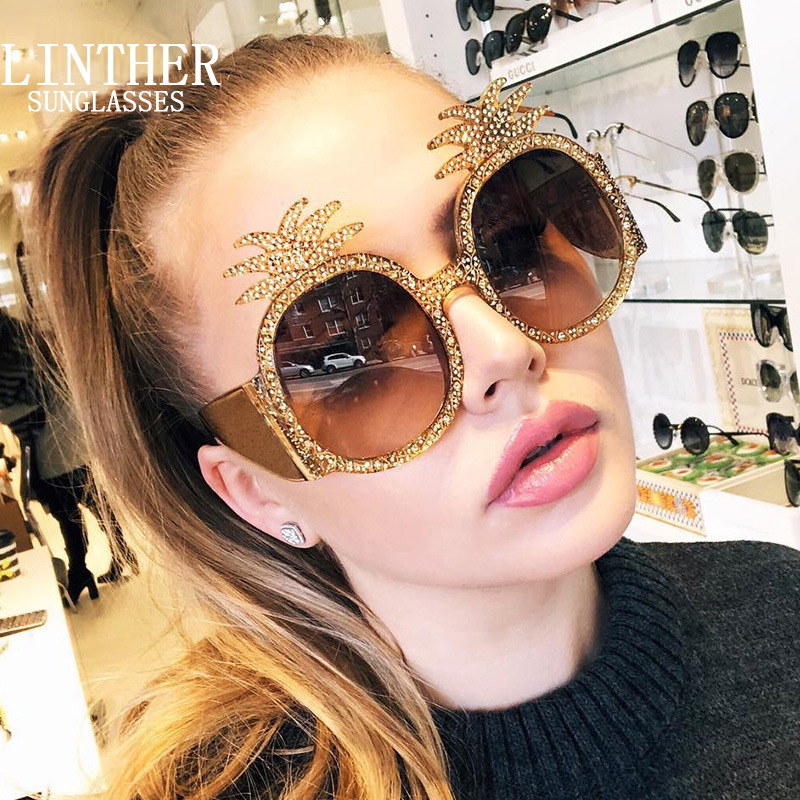 linther 2019 new fashion funny Peculiar design sunglasses high quality Diamonds pineapple sunglasses for women free shipping-in Women's Sunglasses from Apparel Accessories