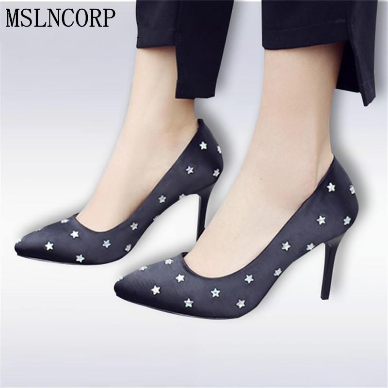Plus Size Fashion 34-42 New Pointed Toe Style Rivet Women Pumps Casual High Heels Fashion Wedding Shoes Woman Party Dress Pumps bowknot pointed toe women pumps flock leather woman thin high heels wedding shoes 2017 new fashion shoes plus size 41 42