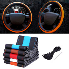 1 Pc DIY 38cm Car Auto Fiber Leather Steering Wheel Cover With Needles and Thread Black Red Brown White Blue Orange