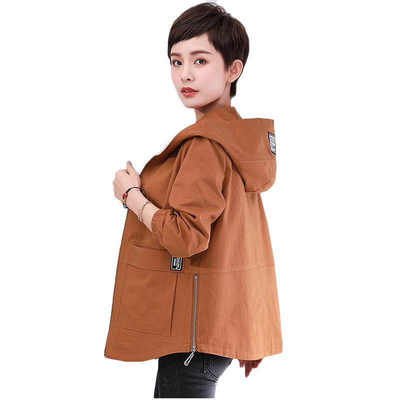 New Autumn Winter Women Trench Coat Loose Hooded Short Outerwear Mother Costume Plus Size 5XL Cotton Windbreaker Female Coats
