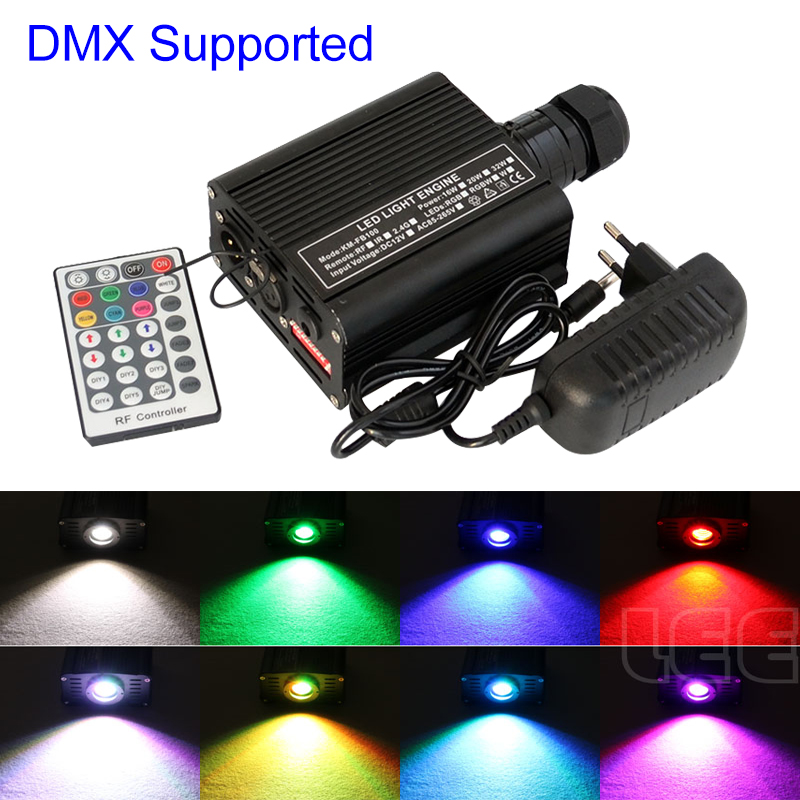 DMX 16W RGBW LED Fiber Optic Engine Driver With 28key RF Remote Controller For All Kinds Fiber Optics