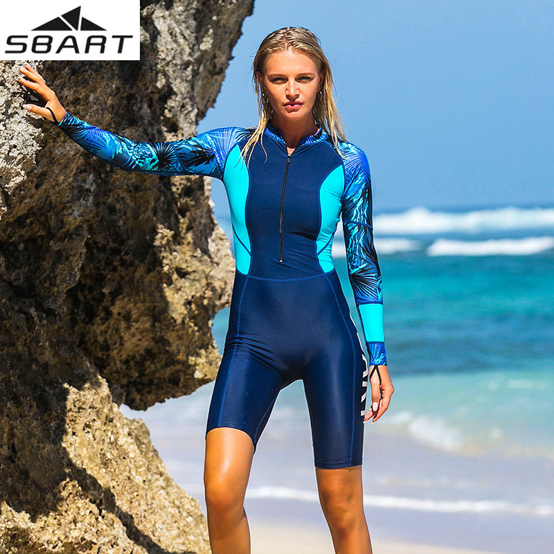 SBART Womens One-piece Long Sleeve Anti-UV Quick-drying Wetsuits Surfing Snorkeling Divi ...