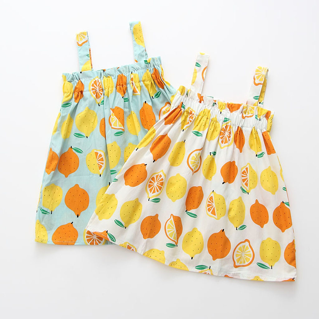 Dress Girl Summer Cotton Children Dresses Kids Girl Sleeveless Flower Print Lemon Strap Spring <font><b>Princess</b></font> <font><b>Toddler</b></font> Clothes L0514 image