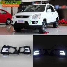eeMrke Car LED DRL For KIA Sportage JE KM 2004-2010 Xenon White DRL Fog Cover Daytime Running Lights Kits