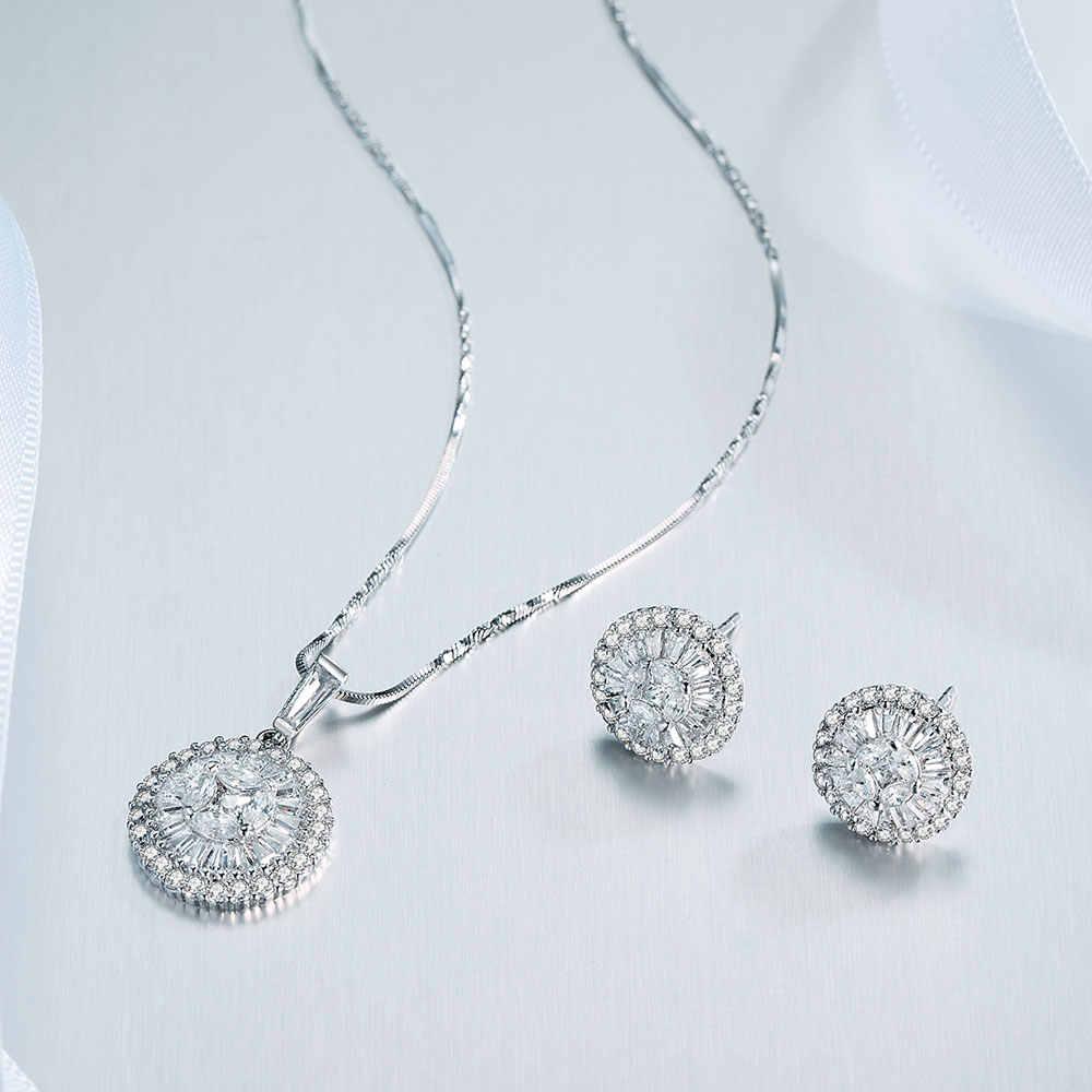 Viennois 925 Silber Runde Pendent Halskette Set Für Frauen Strass Stud Ohrringe Halskette Set Partei Schmuck Set 2019