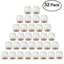 32pcs Silicone Chair Leg Caps Feet Pads Furniture Table Covers Floor Protectors for 25-29MM Round Legs (Transparent+Brown)(China)