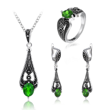 Vintage Wedding Bridal Jewelry Sets For Women Silver Plated Crystal African Beads Necklace Earrings Ring Jewelry