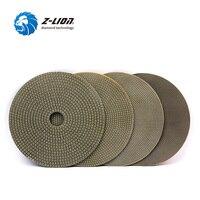 Z LION 5 Inch 4 Pcs Diamond Polishing Disc Stone Ceramic Metals Grinding Grit 60 120