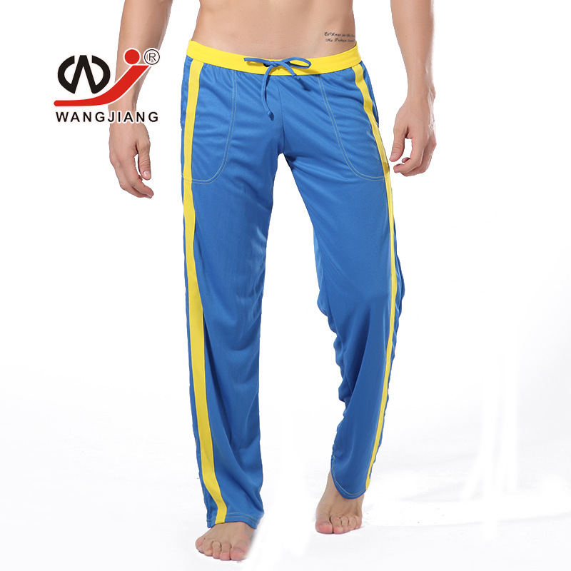 WJ brand men solid sweatpants Casual thin pants breathable straight trousers Polyester long