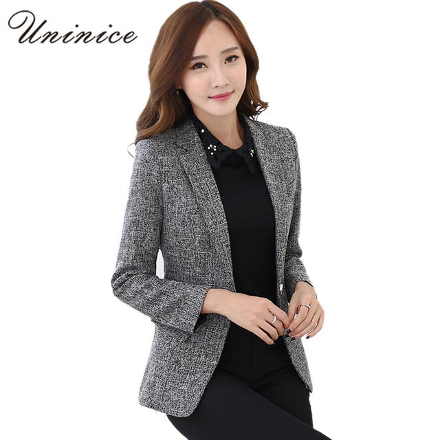 eaa954c1ceb8 2017 Autumn Winter Jacket   Blazers Women Plus Size Gray Simple Women Blazer  Tops Korean OL Style Coat One Button Blazer Female