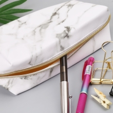 Large Cute Pencil Case Pen Box Zipper Bags Marble Makeup Storage Supplies