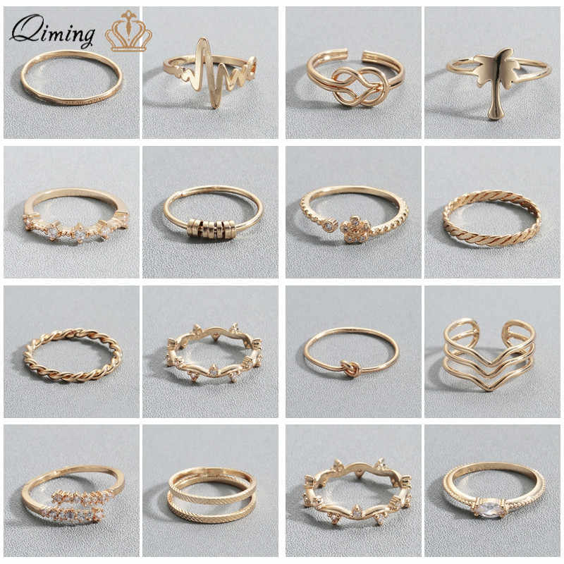 QIMING Golden Finger Ring Female Women's Minimal Minimalist Jewelry CZ Crystal Knuckle Toe Ring Sets For Girls Gift Rings