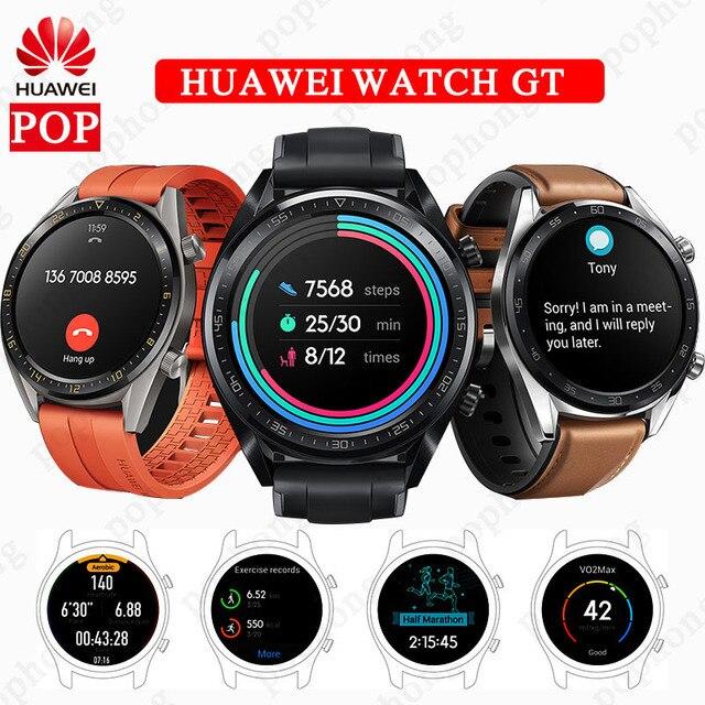 "HUAWEI שעון GT חכם ספורט שעון צבעוני AMOLED מסך דופק דו""ח GPS לשחות ריצה רכיבה על אופניים שינה צג שעון"
