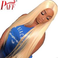 PAFF Honey Blonde Lace Front Human Hair Wig #613 Color Silky Straight Blonde Peruvian Remy Hair Wig With Baby Hair and Hairline
