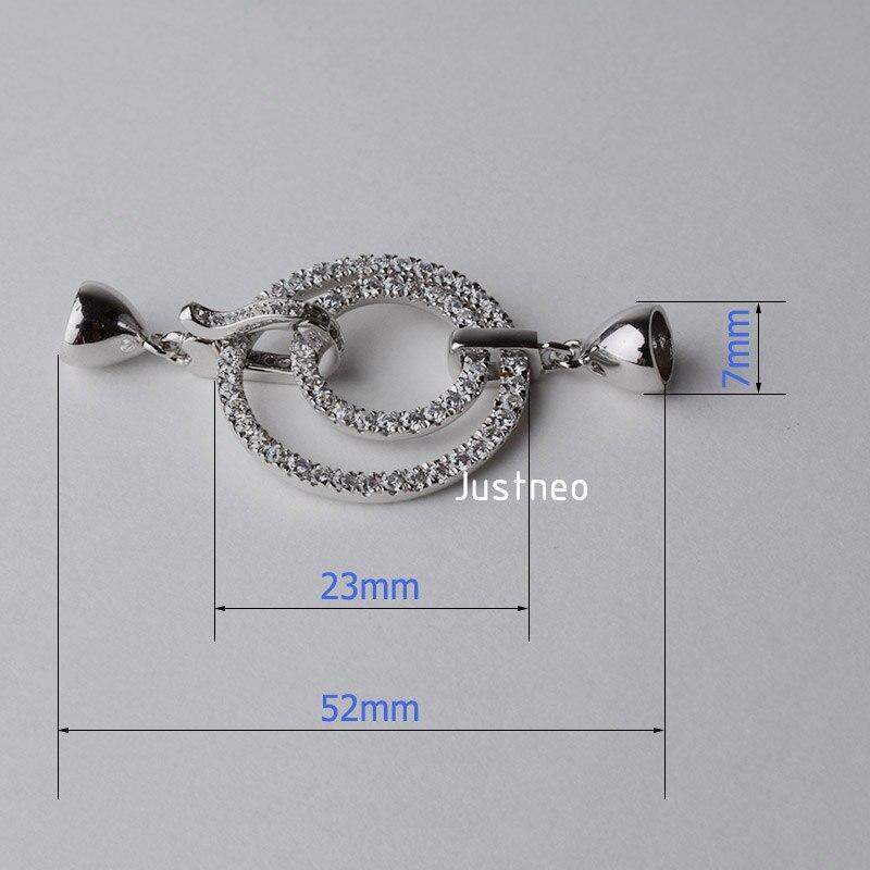 Fermoir en argent sterling 925 massif, fermoir rond en zircon cubique, bijoux en perles de rhodium - 2
