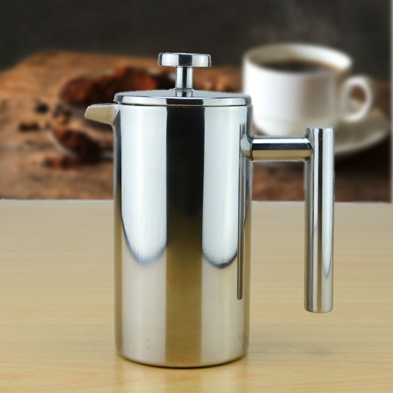 Double wall Stainless Steel Coffee Plunger French Press Tea Maker ...