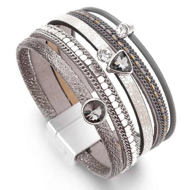 Multilayer Wide Leather Trendy Rhinestone Crystal Lady Charm