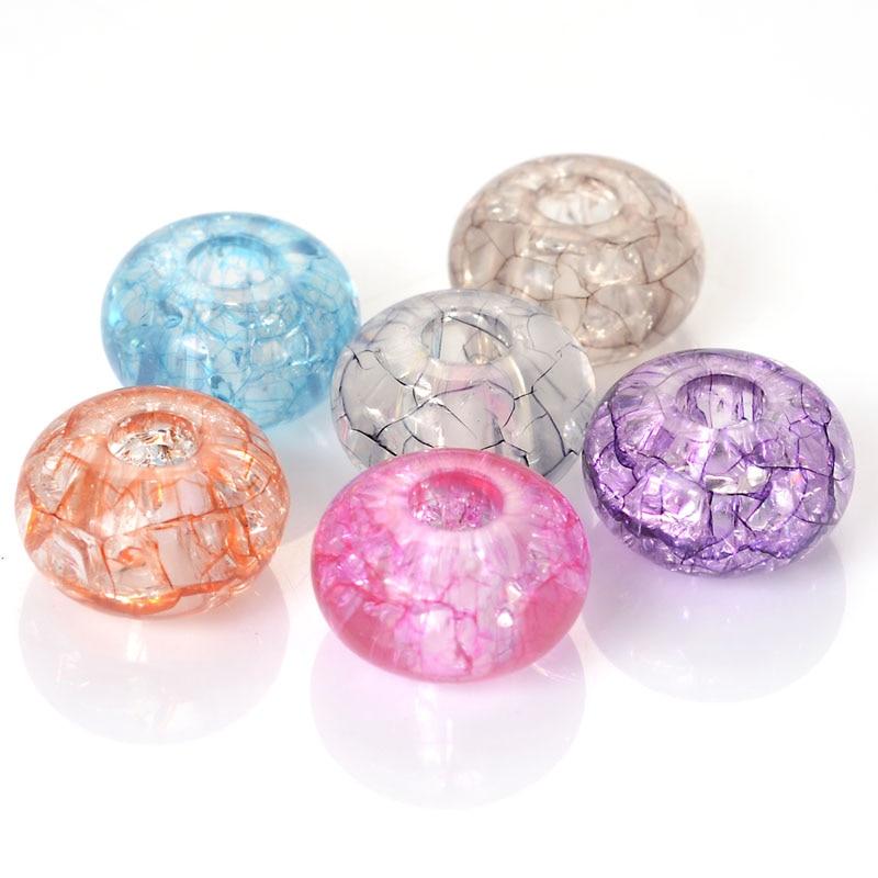 25 Pcs/Lot Acrylic European Large Hole Spacer Beads Fits Pandora Diy Interchangeable Charm Bracelet Jewelry Making