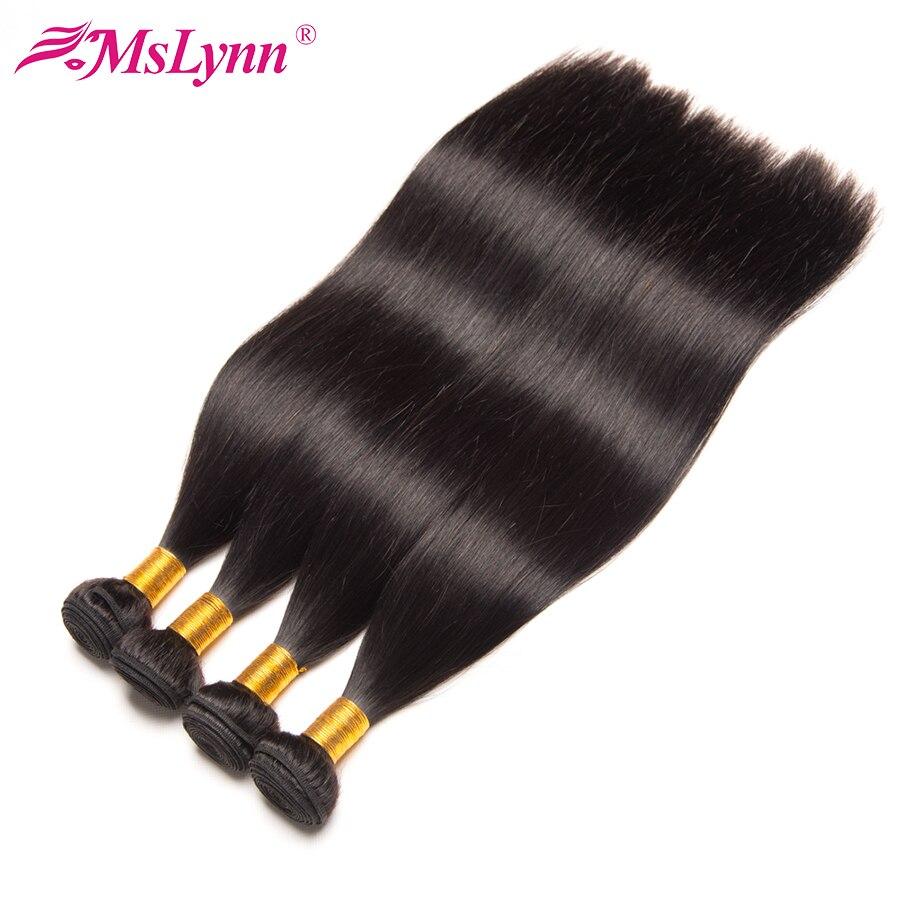 Mslynn Hair Peruvian Straight Hair Bundles Human Hair Extensions 10″-28″ Non Remy Hair Weaving 1 Piece Natural Color