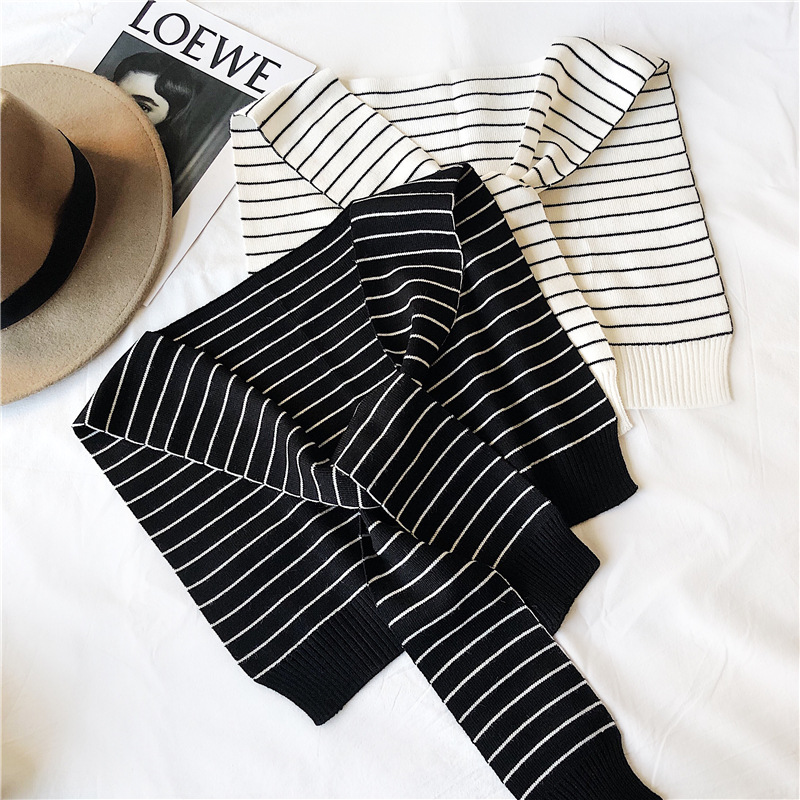 TOTRUST Knitted Scarf Womens Fake Collar Shirt 2020 Elegant Black White Fake False Collars Woman Detachable Collars For Women