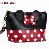 LDAJMW Women Cosmetic Bag Butterfly Bow PU Leather Makeup Bag Travel Organizer Toiletry Wash Bags Small
