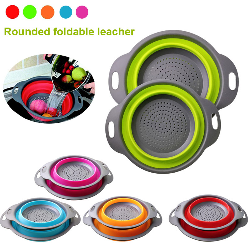 Multifunction Kitchen Collapsible Silicone Colander Fruit Vegetable Strainer Space Saver Store