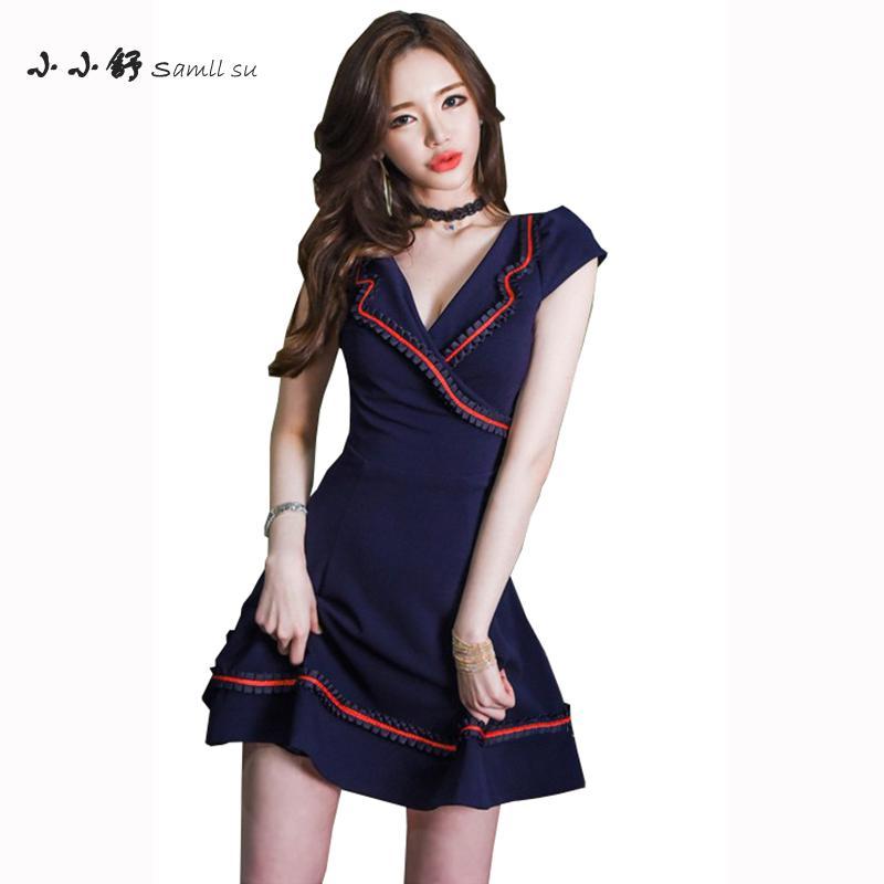 6610e692863 Robe Bleu Plus Femme See V Aline Femmes Taille Vintage Mini Picture 2017 Su  D été ...