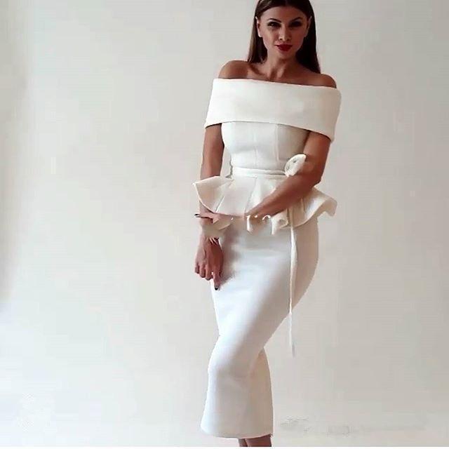 2019 Cocktail Dresses Sheath Off The Shoulder Tea Length Short Elegant Party Homecoming Dresses