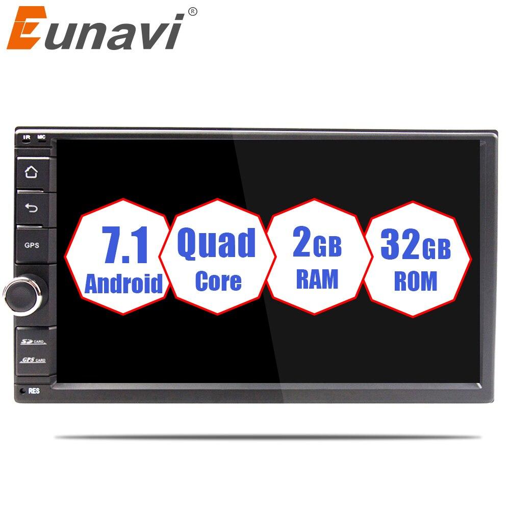 Eunavi Universel Double 2 din Android 7.1 Voiture Radio Quad Core 7 pouce 2din Voiture GPS Navigation pour nissan avec wifi stéréo BT RDS