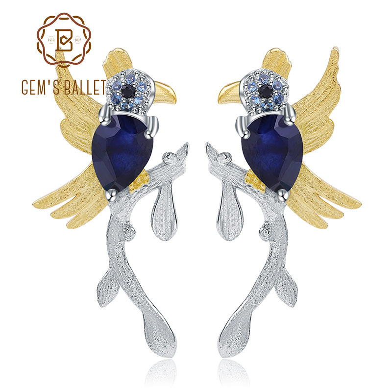 GEM'S BALLET 925 Sterling Silver Gemstone Earrings 1.30Ct Natural Sapphire Handmade Cute Bird Stud Earrings for Women Wedding