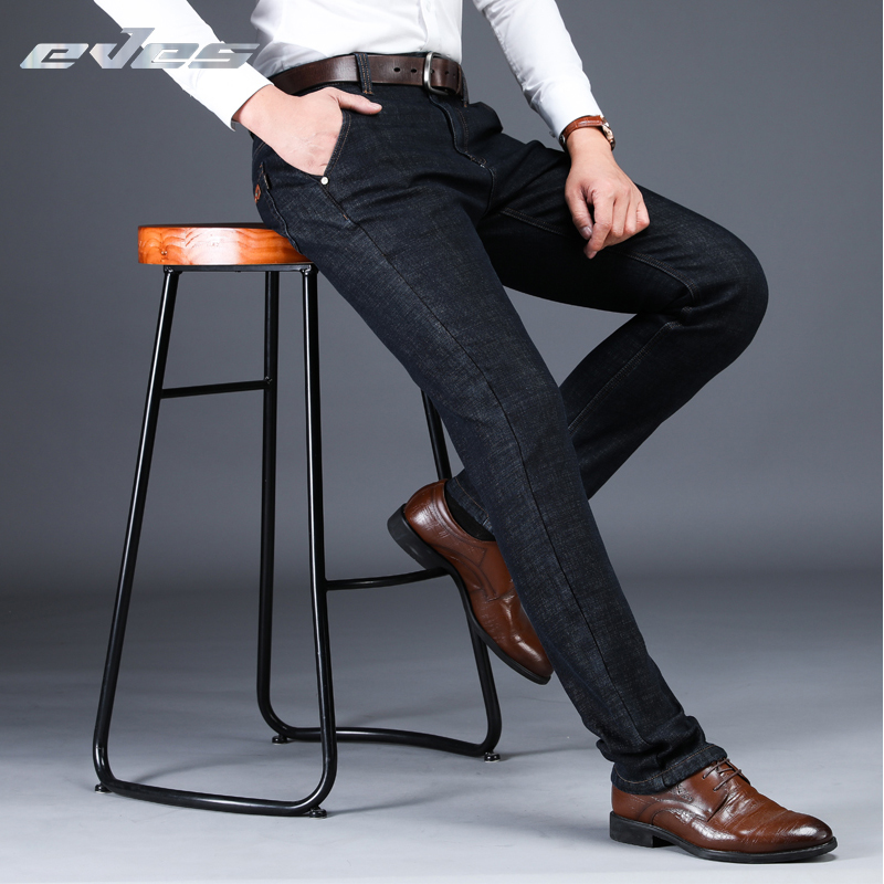 EVES Classic Fleece Business Black   Jeans   For Men Slim Fit Autumn Winter Spring Trousers Male Casual Thick Warm Denim Homme Pants