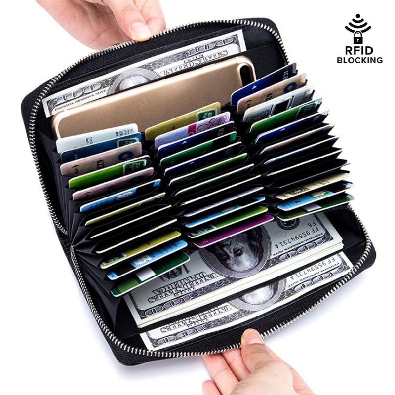 Genuine Leather Women Wallets RFID Blocking Ladies Purse Large Capacity Credit Card & ID Holders Female Clutch Bags