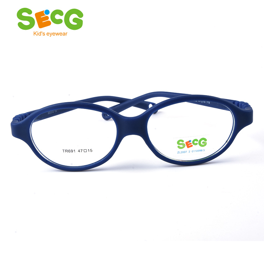 SECG Optical Myopia Oval Round Children Glasses Frame Plastic Glasses For Sight Children Correction Soft Kids Eyewear Frame