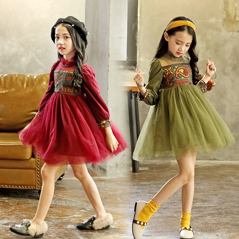 New Lace Girls Dress Retro Embroidery Long Sleeve Christmas Clothes Girls Party Dress Teenagers Princess Dress 3-13 Years CA341 girls embroidery detail contrast lace hem dress
