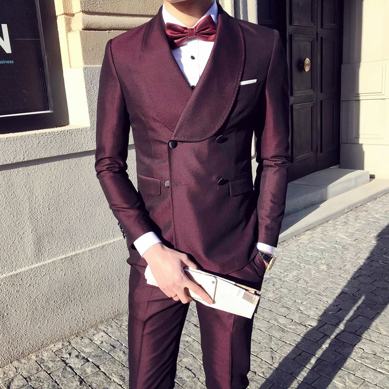 Burgundy Suits Mens Double Breasted Suits Slim Fit Blue Wedding Mens Suits 2018 Prom Mens Dinner Dresses Host Stage Costumes