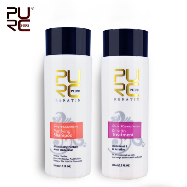 keretin hair treatment 100ml and purifying shampoo and 10ml argan oil best hair care set repair damaged hair PURE 12% formalin