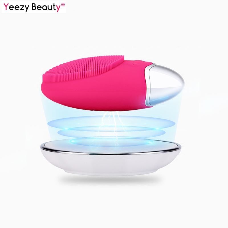 Electric Facial Cleansing Brush Anion Imported Pore Dirts Cleanse Bamboo Charcoal Silicone Brush Wireless Charging Cleanser